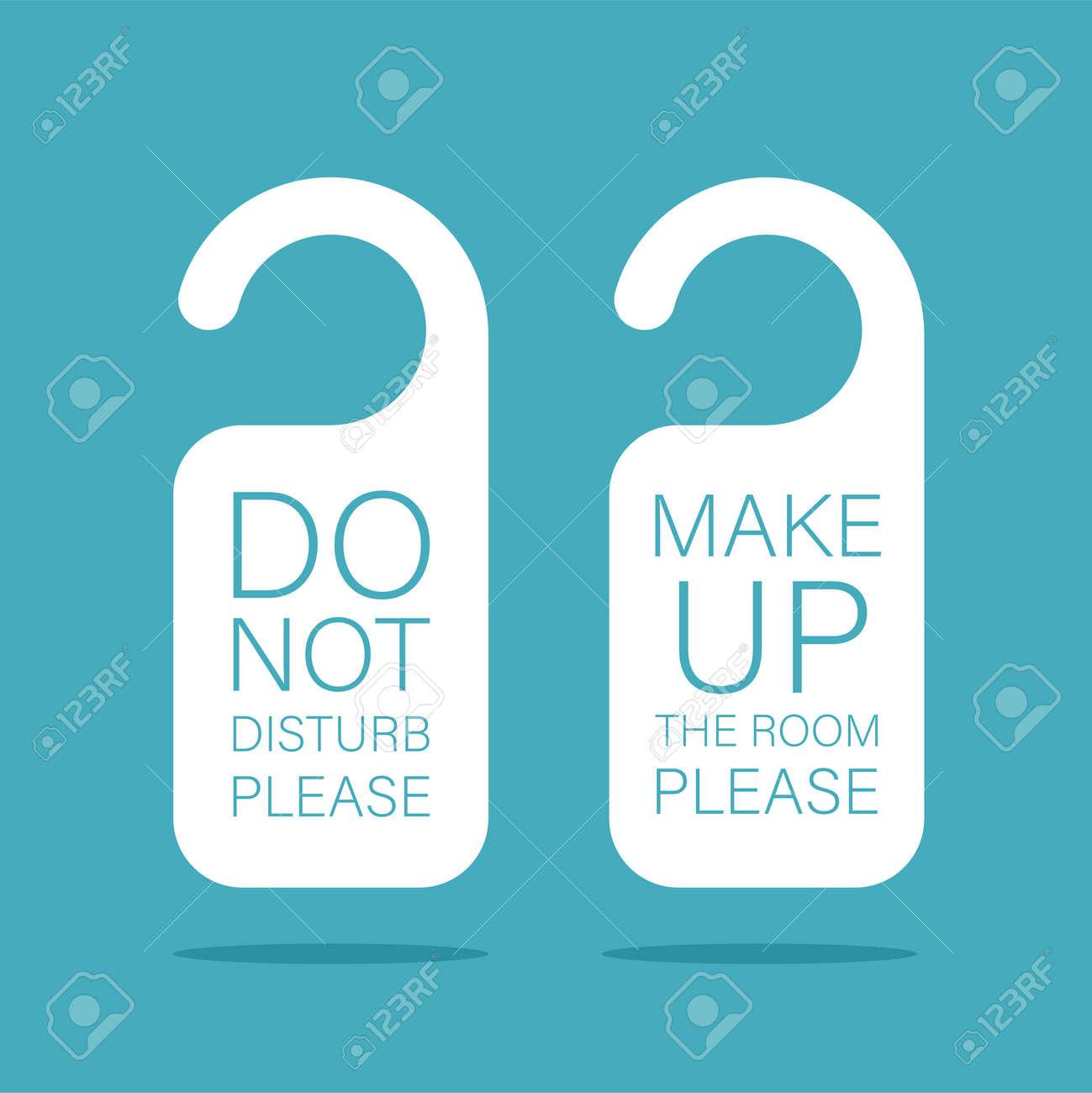 Door knob warning hangers set. Do not disturb and make up the room. Door signs template. Vector illustration isolated. - 169877664