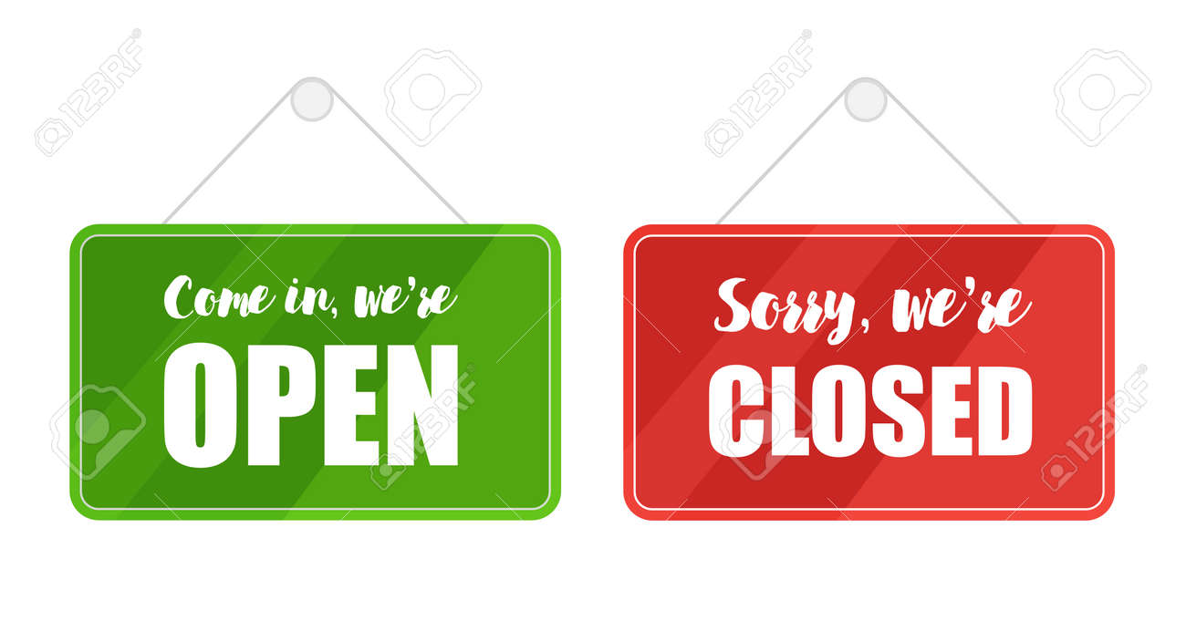 Open and closed signs for door isolated on white background. Vector lettering - 169877665