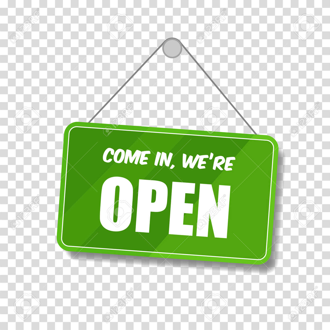 Open sign for door isolated on transparent background. Welcome. Vector lettering - 169877671
