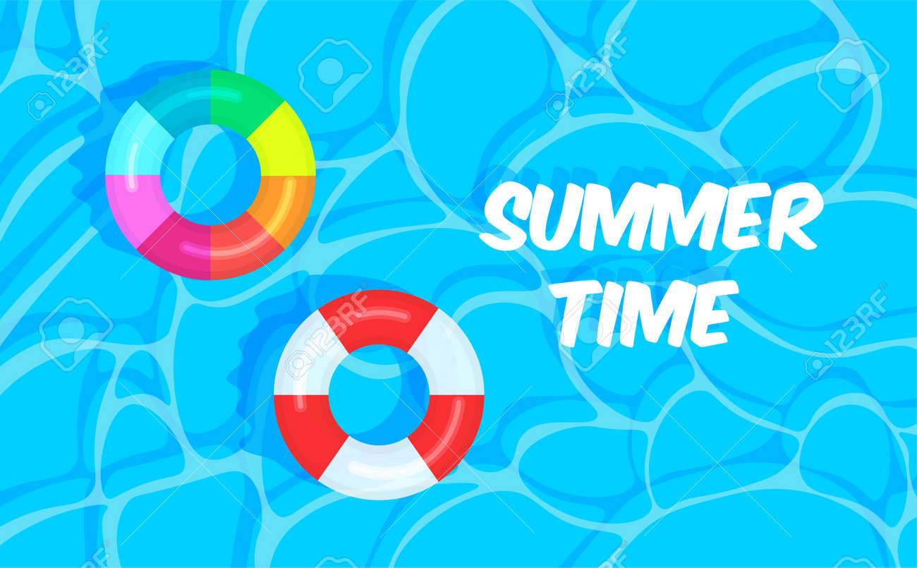 Swimming pool summer background with colorful lifebuoys. Summer time concept. Pool party template banner. Float rings. Vector illustration in trendy flat style. - 169877674