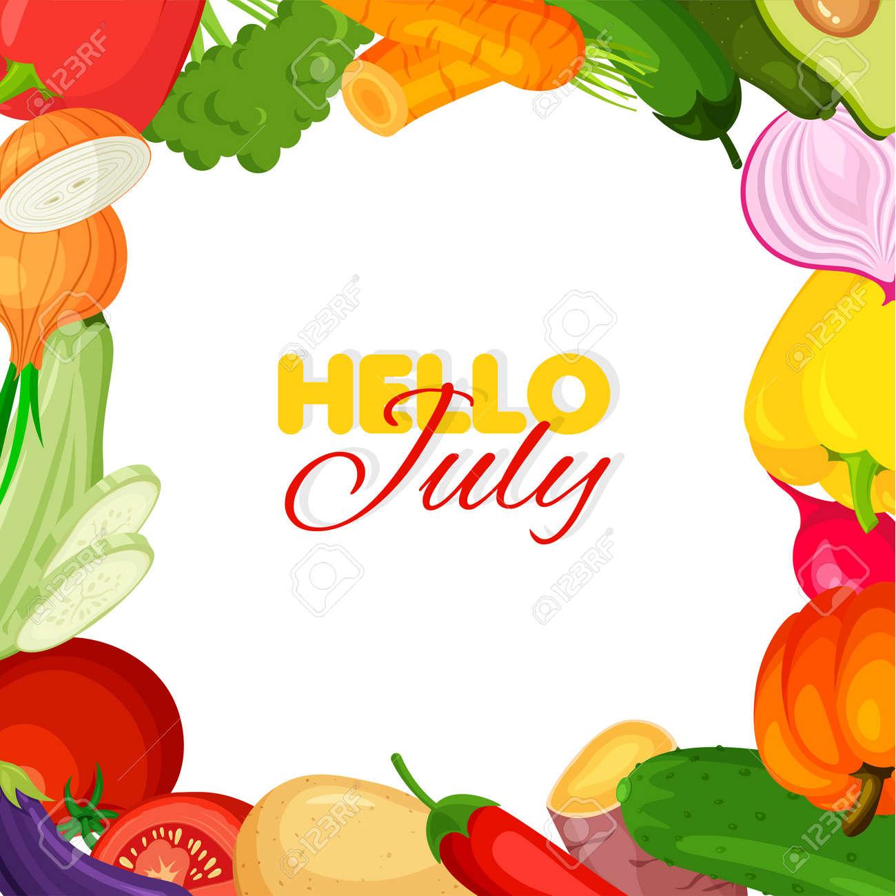 Vegetable frame. Summer banner template. Hello july concept. Vector illustration. - 169877679