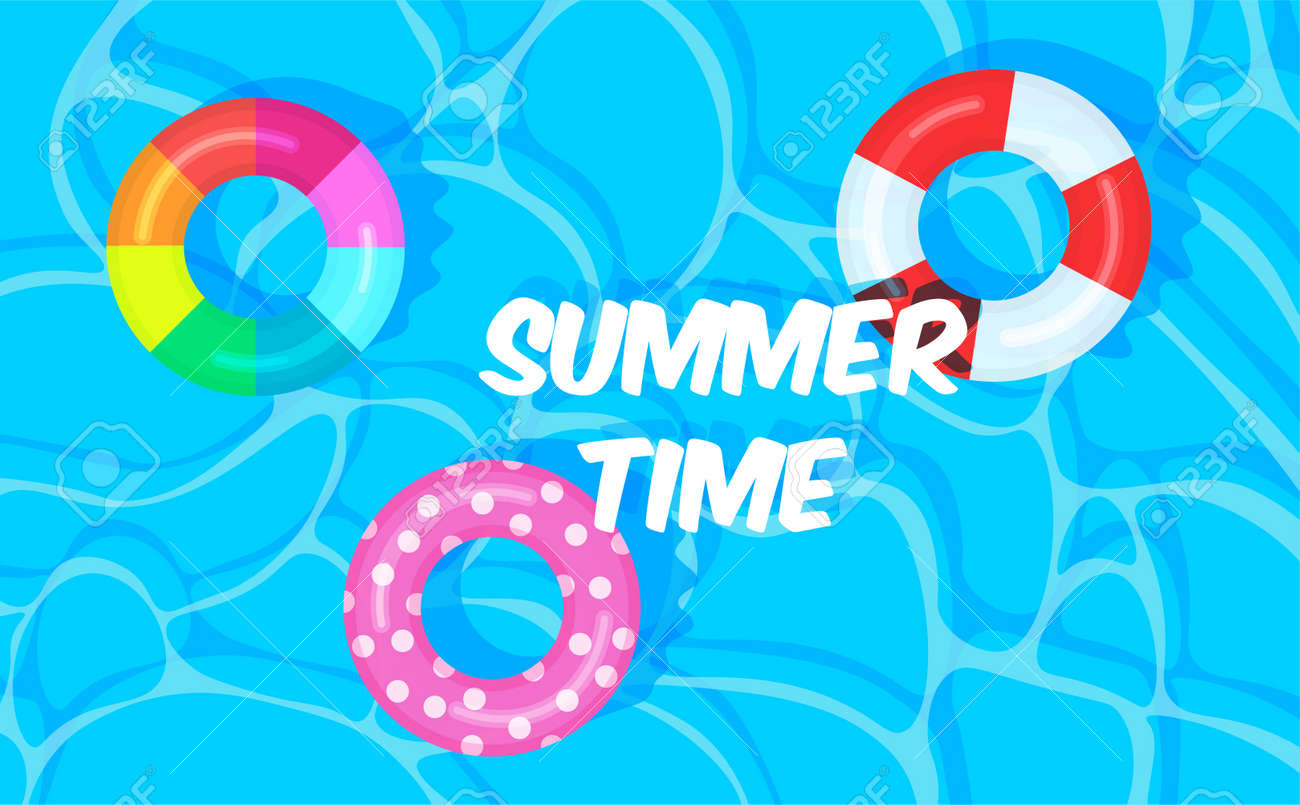 Swimming pool summer background with colorful lifebuoys. Summer time concept. Pool party template banner. Float rings. Vector illustration in trendy flat style. - 169877680