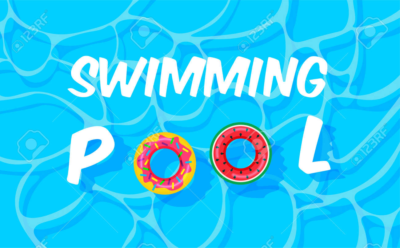 Pool party template banner. Swimming pool summer background with colorful lifebuoys. Float rings. Vector illustration in trendy style. Top view. - 169877685