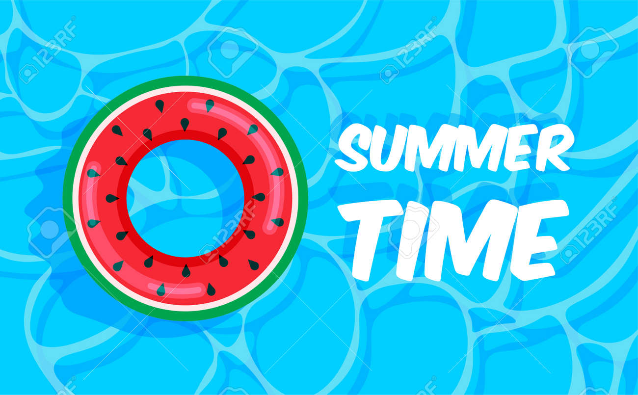 Swimming pool summer background with watermelon lifebuoy. Summer time concept. Pool party template banner. Float rings. Vector illustration in trendy flat style. Top view. - 169877686