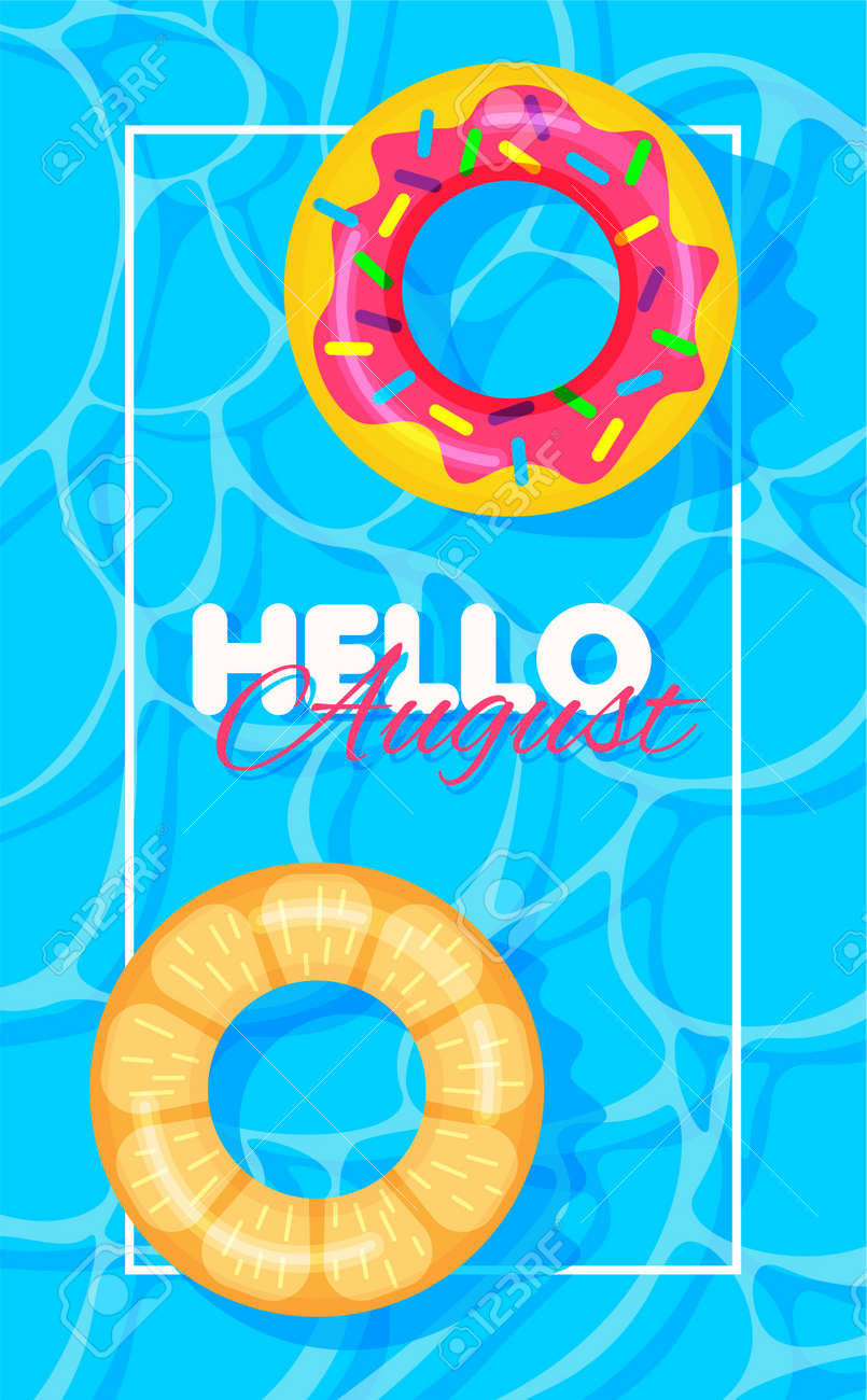 Swimming pool summer background with donut and orange print lifebuoys. Hello august concept. Pool party template banner. Float rings. Vector illustration in trendy flat style. - 169877778