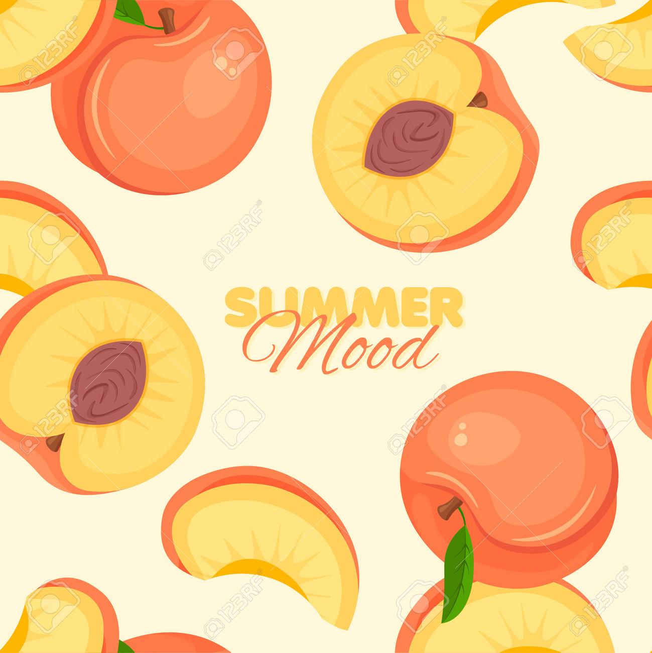 Peach seamless pattern. Summer banner concept. Vector illustration. - 169877774
