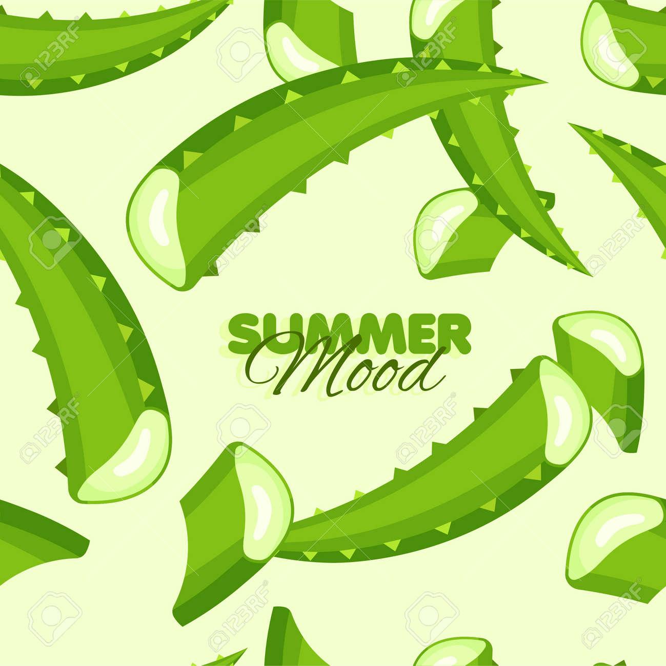 Aloe leaves seamless pattern. Summer banner with floral background. Herbal botanical design. Vector illustration. - 170248532