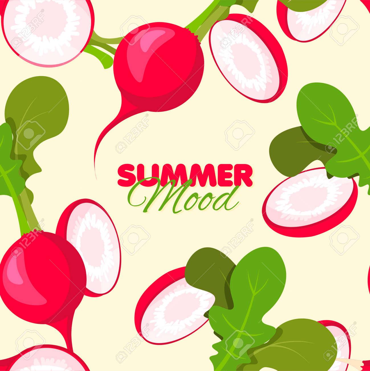 Bright radish seamless pattern. Summer banner concept. Vector illustration. - 170248534