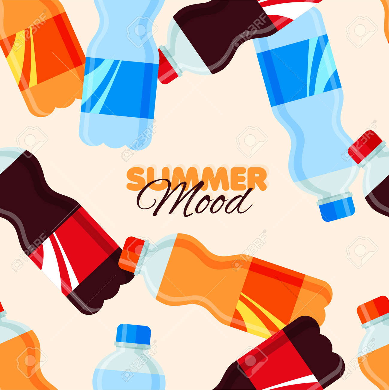 Soda drink seamless pattern. Summer banner template with sweet sparkling water. Vector illustration - 170248538