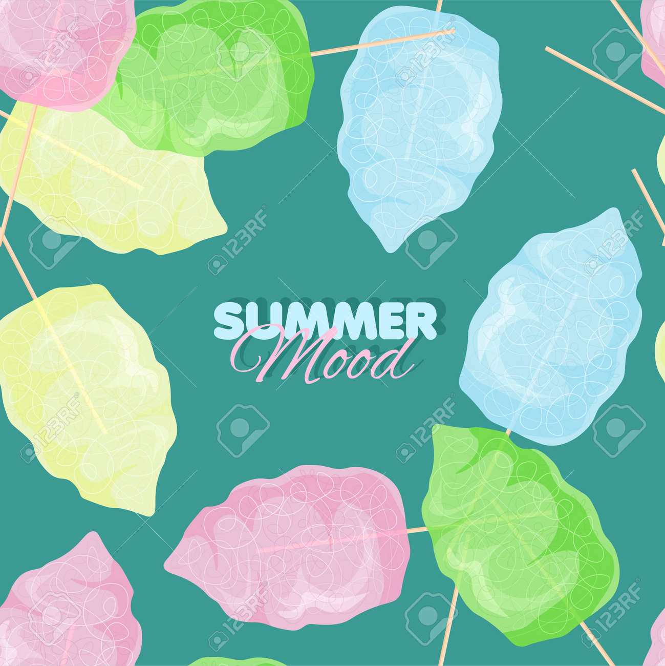 Cotton candy seamless pattern. Summer banner template. Vector illustration - 170248539