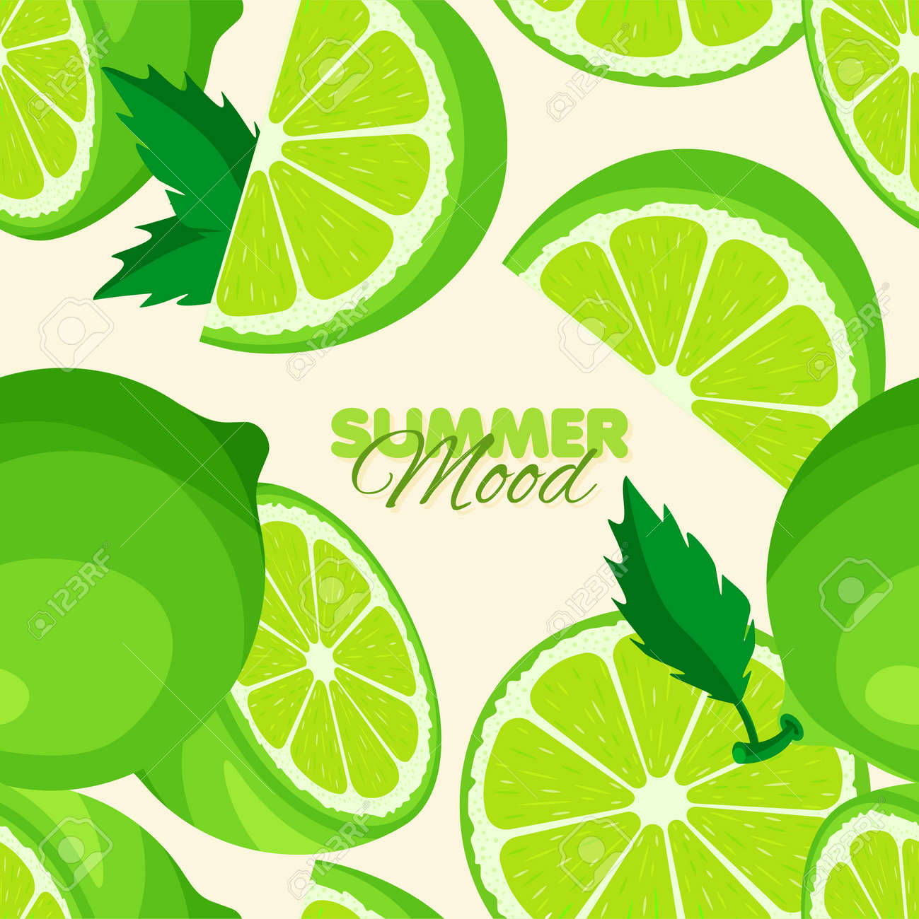Lime seamless pattern. Summer banner concept. Vector illustration. - 170248542
