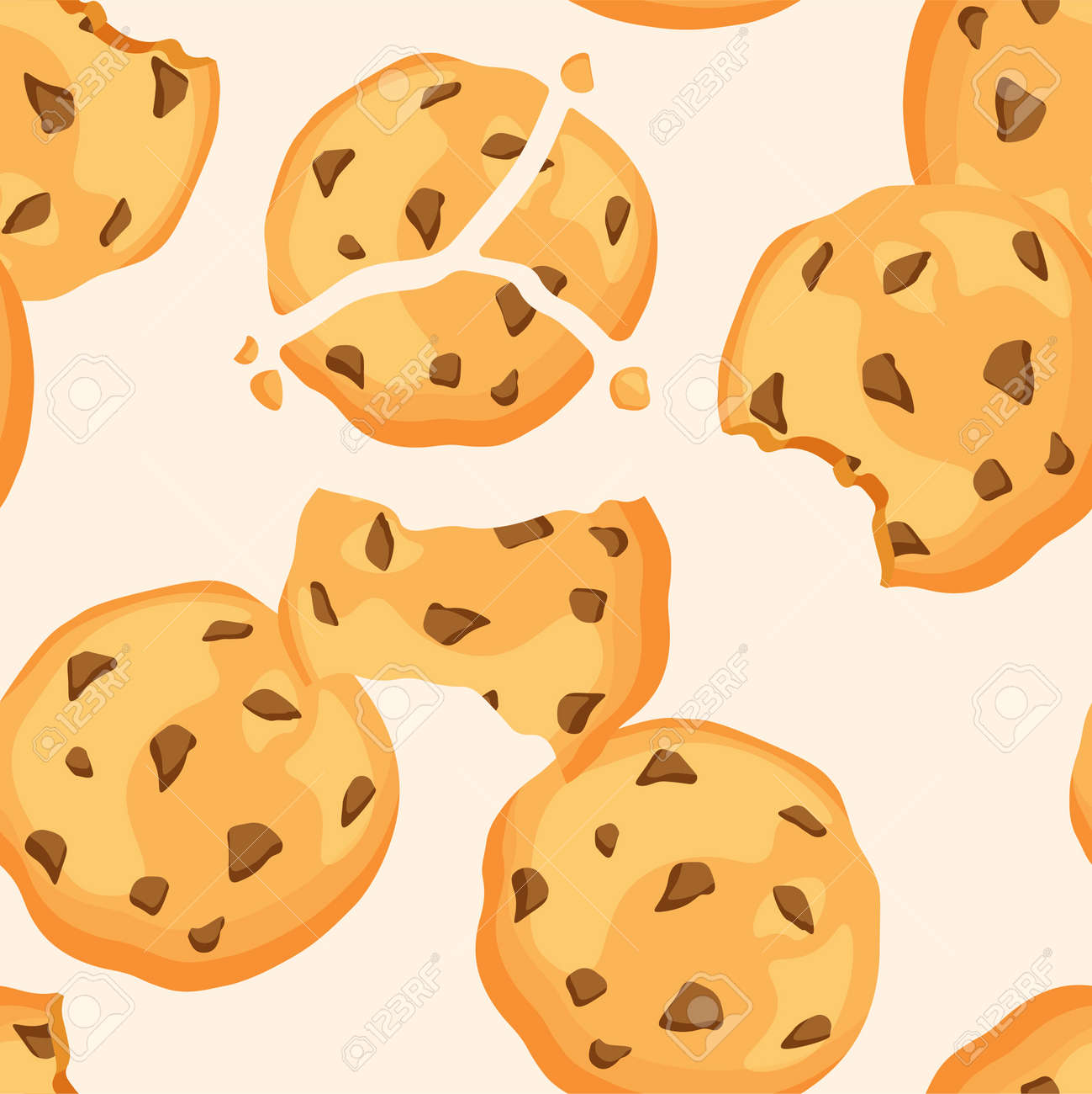 Traditional chip cookies seamless pattern. Bitten and broken cookie with chocolate. Vector illustration isolated. - 170672893