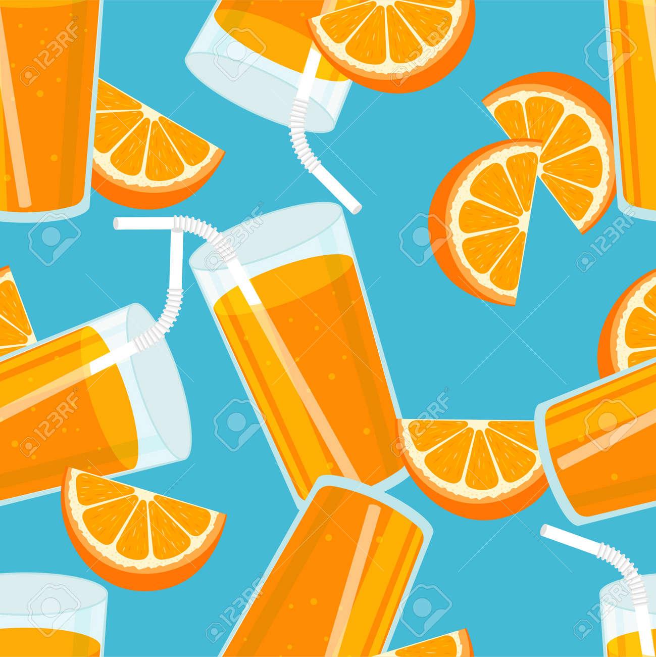 Orange juice seamless pattern. Summer banner concept. Blue background. Vector illustration. - 170672897