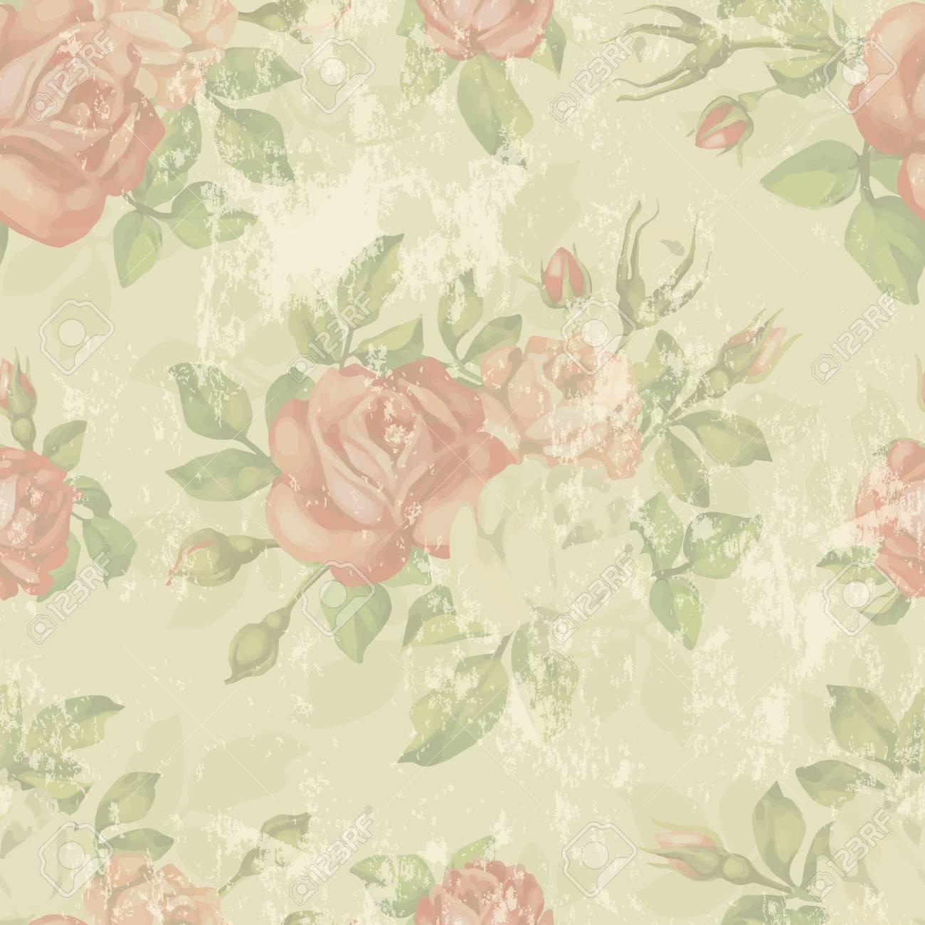 Vettoriale Vintage Senza Soluzione Di Continuità Con Le Rose