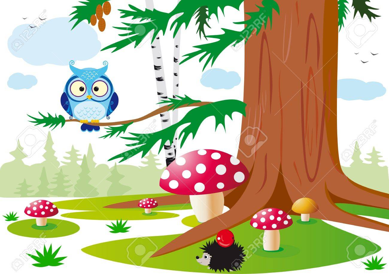 colorful vector illustration of the forest with animals for the children Stock Vector - 14760891