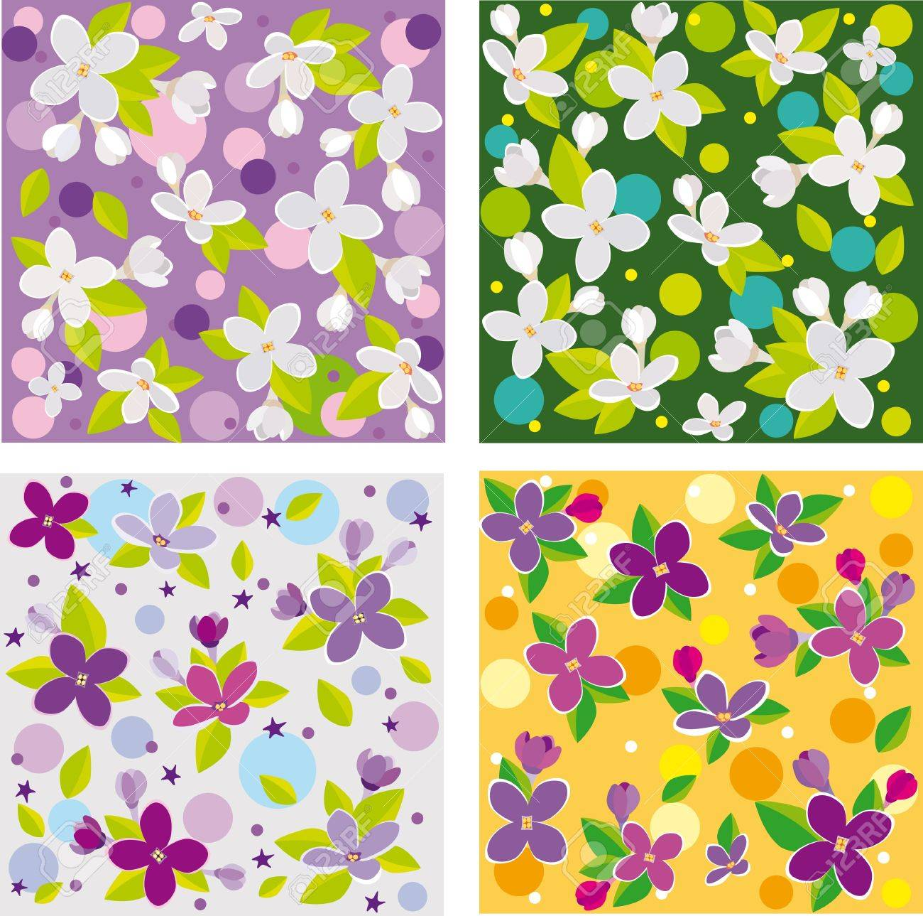Collection Of Seamless Floral Backgrounds Beautiful Lilacs Royalty