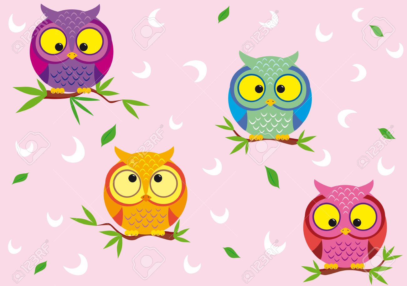 vector seamless background with fun colorful owls royalty free
