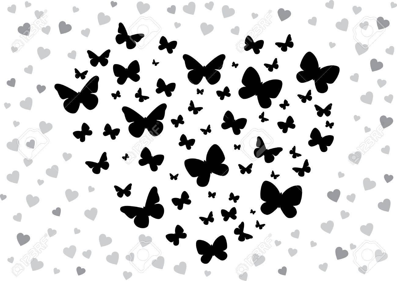 banque dimages vector illustration dun papillon en forme de coeur papillons noir et blanc