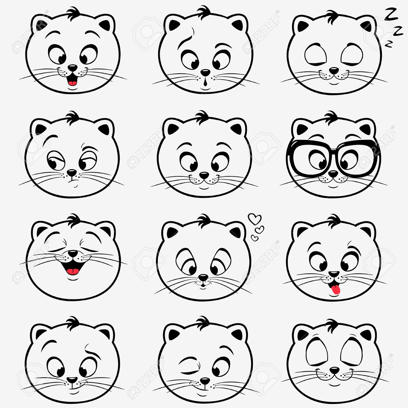 Illustration Of Funny Emoticons Kittens Royalty Free Cliparts ...