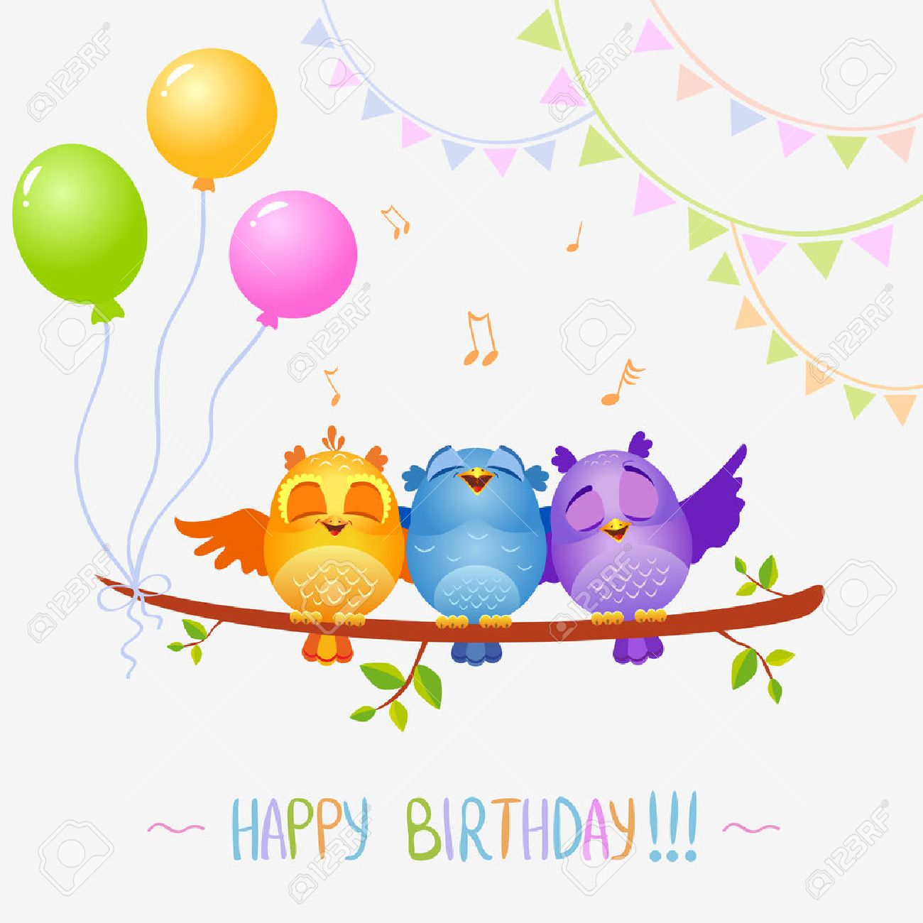 Feliz cumpleaños,  Gaia!!! 22719235-illustration-of-funny-characters-birds-sing-happy-birthday