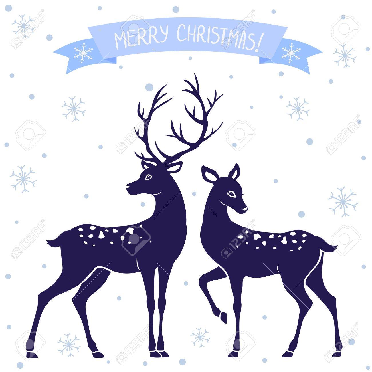 silhouettes of black and white illustration of two deer christmas rh 123rf com Deer Silhouette Vector Elk Vector