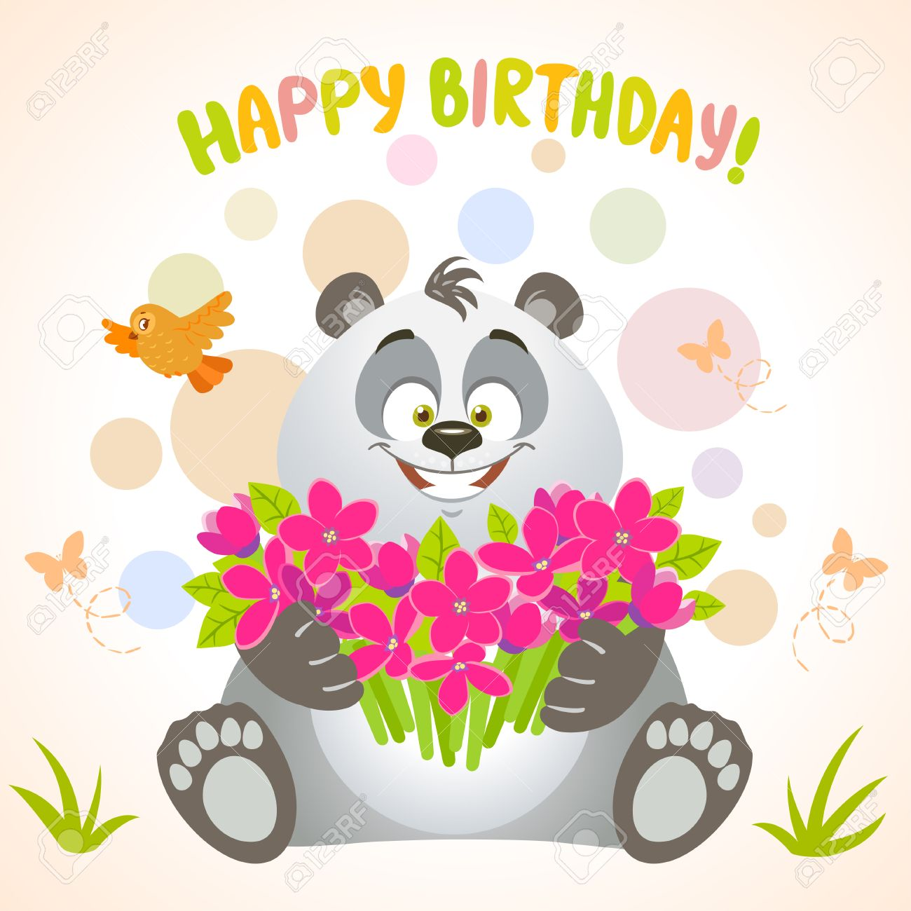 Beautiful Birthday Card Cartoon Cute Happy Panda With Big Bouquet