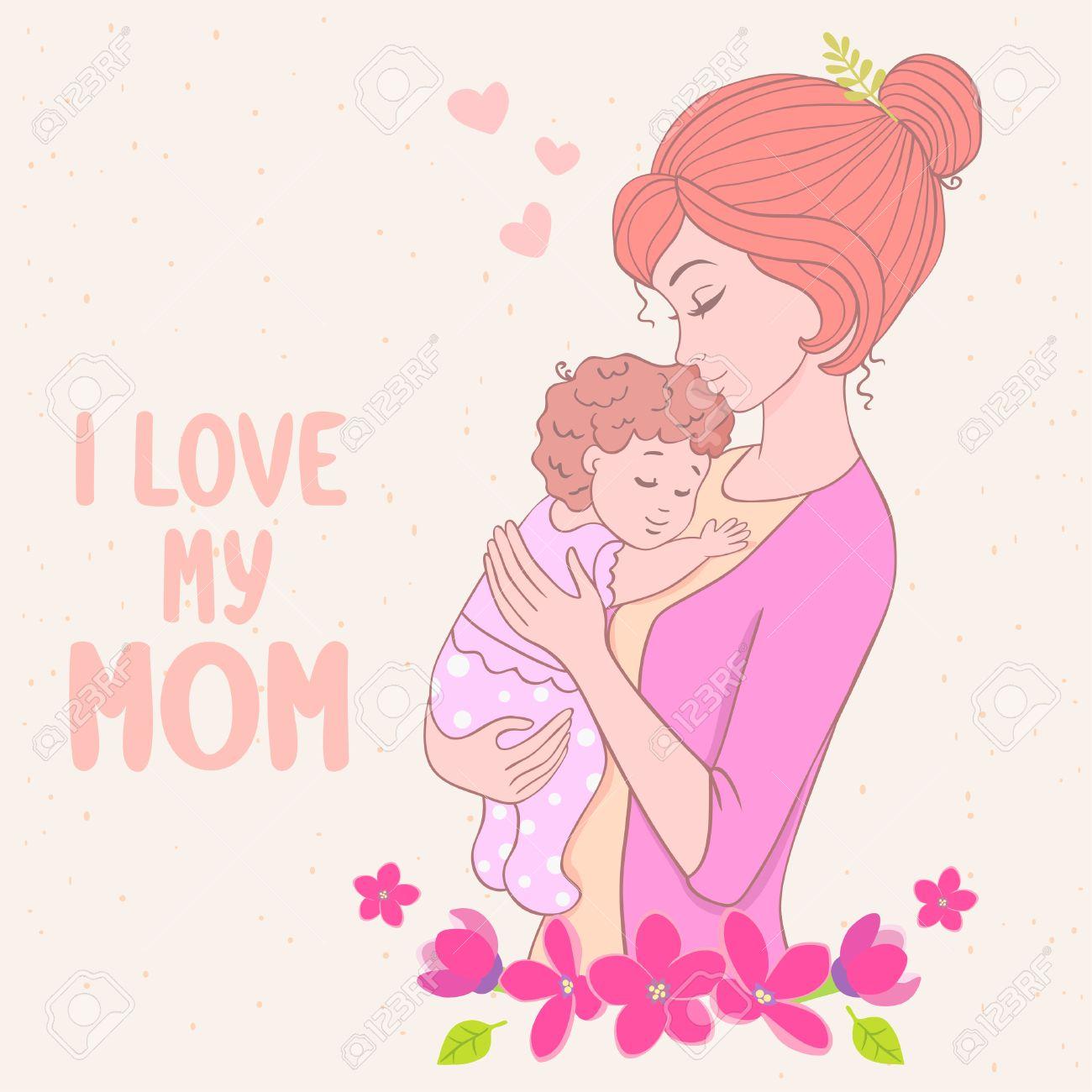 Tarjeta Con Estilo De Dibujos Animados Con La Madre Hermosa Con El ...