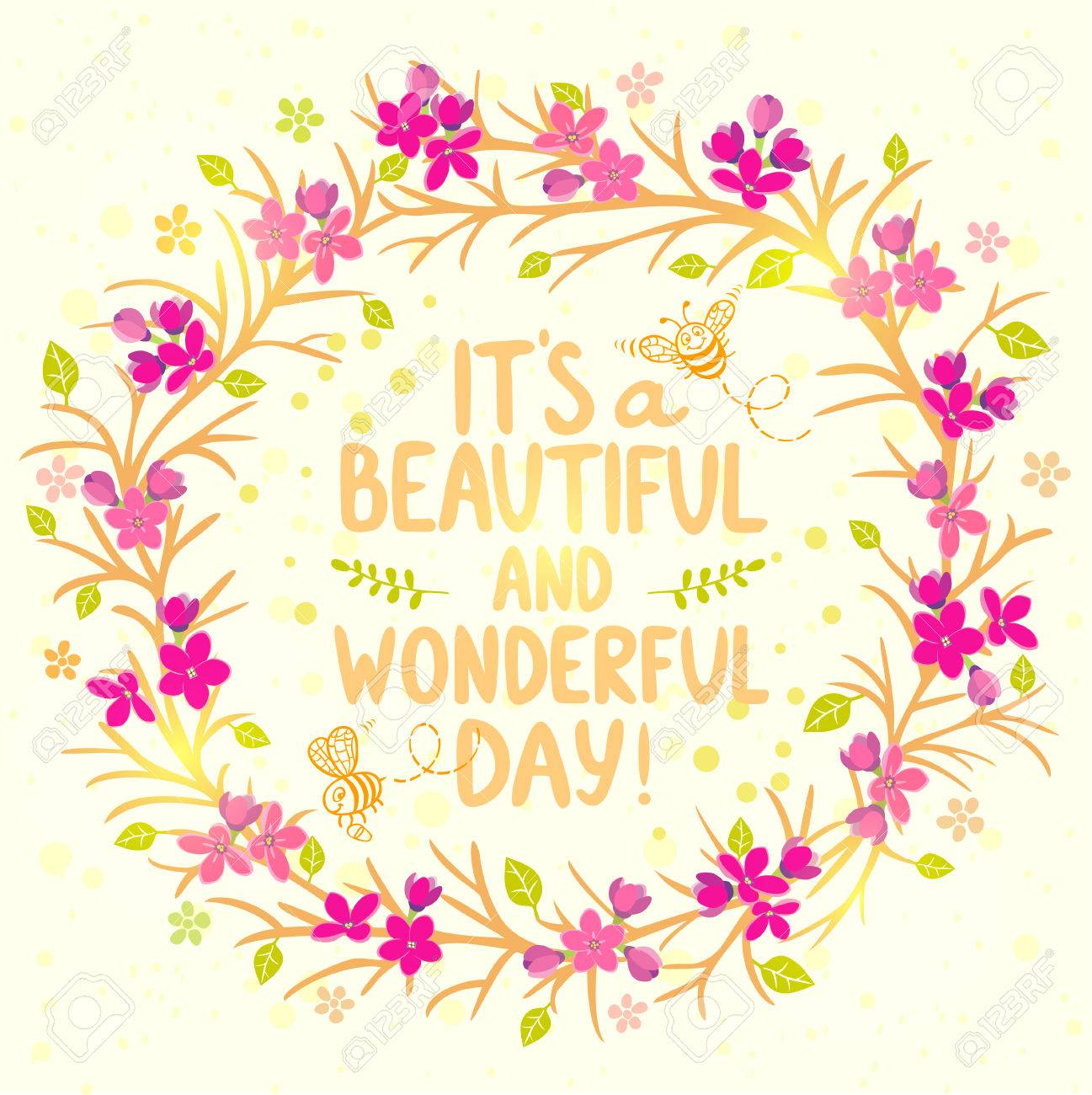 Stylish Beautiful Card Wreath Flowers With Cute Cartoon Bees