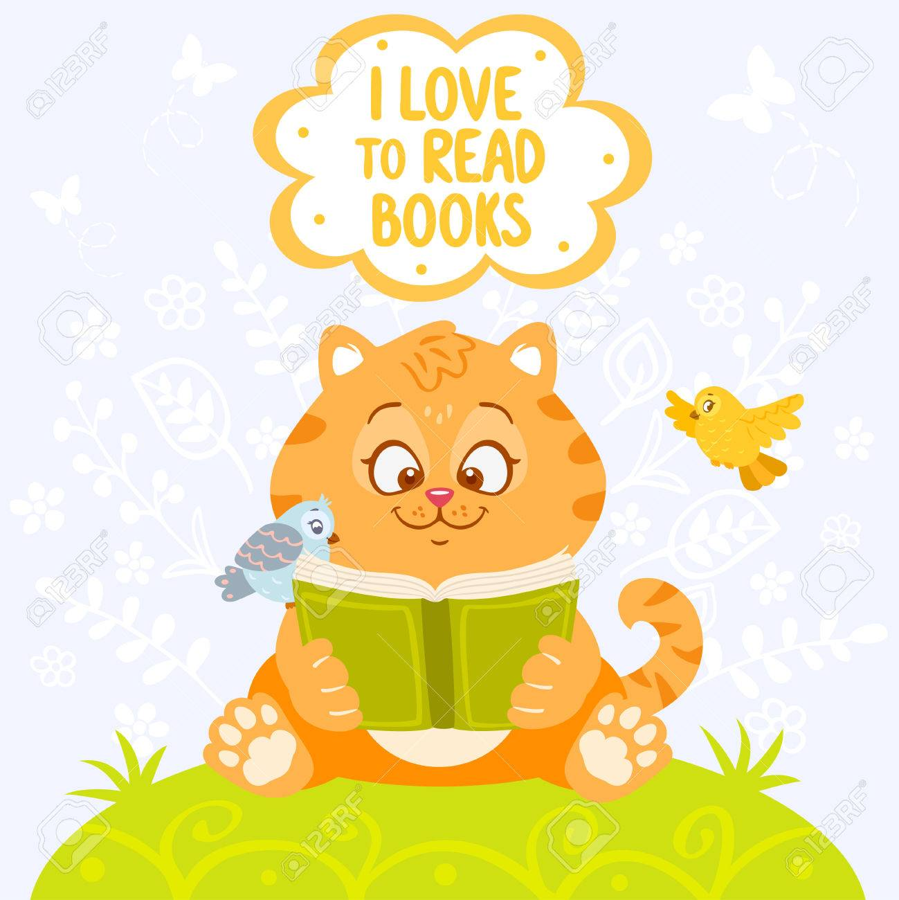 Image result for cat reading a book cartoon