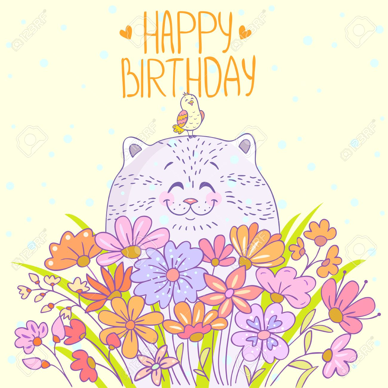 Cute and beautiful cartoon cat with a bird stylish happy birthday cute and beautiful cartoon cat with a bird stylish happy birthday card stock vector izmirmasajfo Gallery