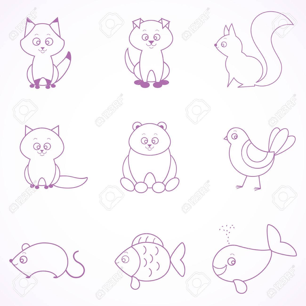 Stilvolle Reihe Schöne Wohnung Tiere Zeichnen Sie Eine Einfache