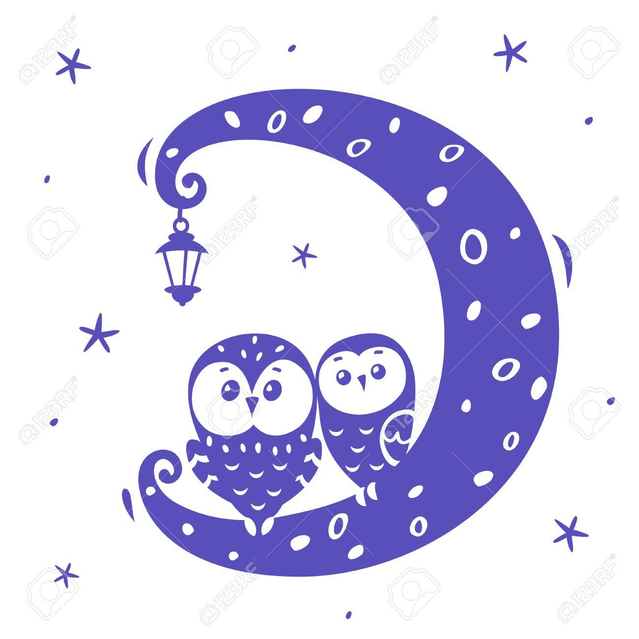 イラスト シルエット漫画かわいいと面白いフクロウ月面のイラスト素材 ベクタ Image