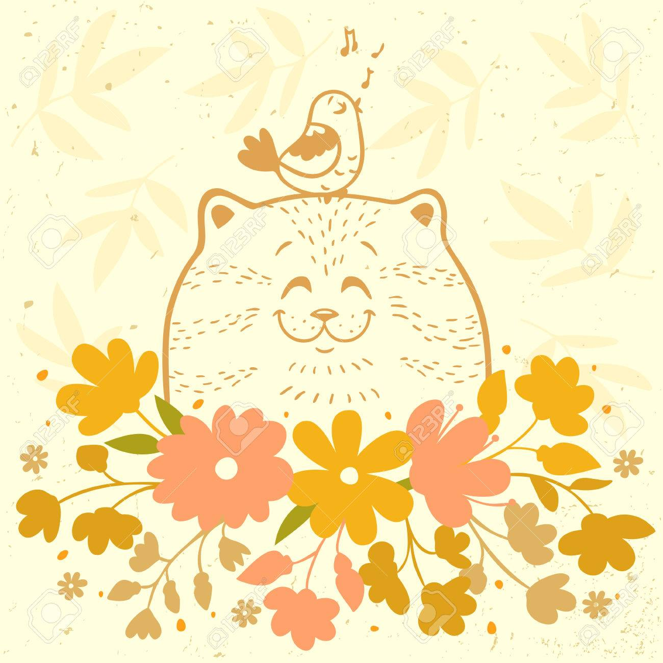 Cute And Beautiful Cartoon Silhouette Cat With A Bird And Flowers