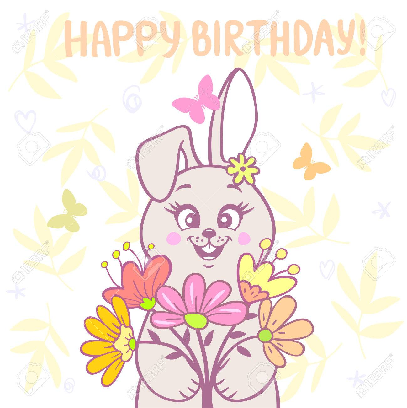 Beautiful Cartoon Cute And Funny Bunny With A Bouquet Of Flowers Happy Birthday Card