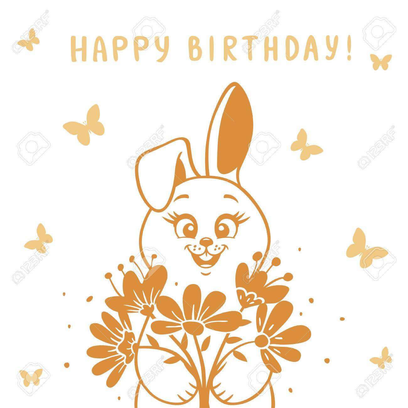 Beautiful Silhouette Cute And Funny Cartoon Bunny With A Bouquet Of