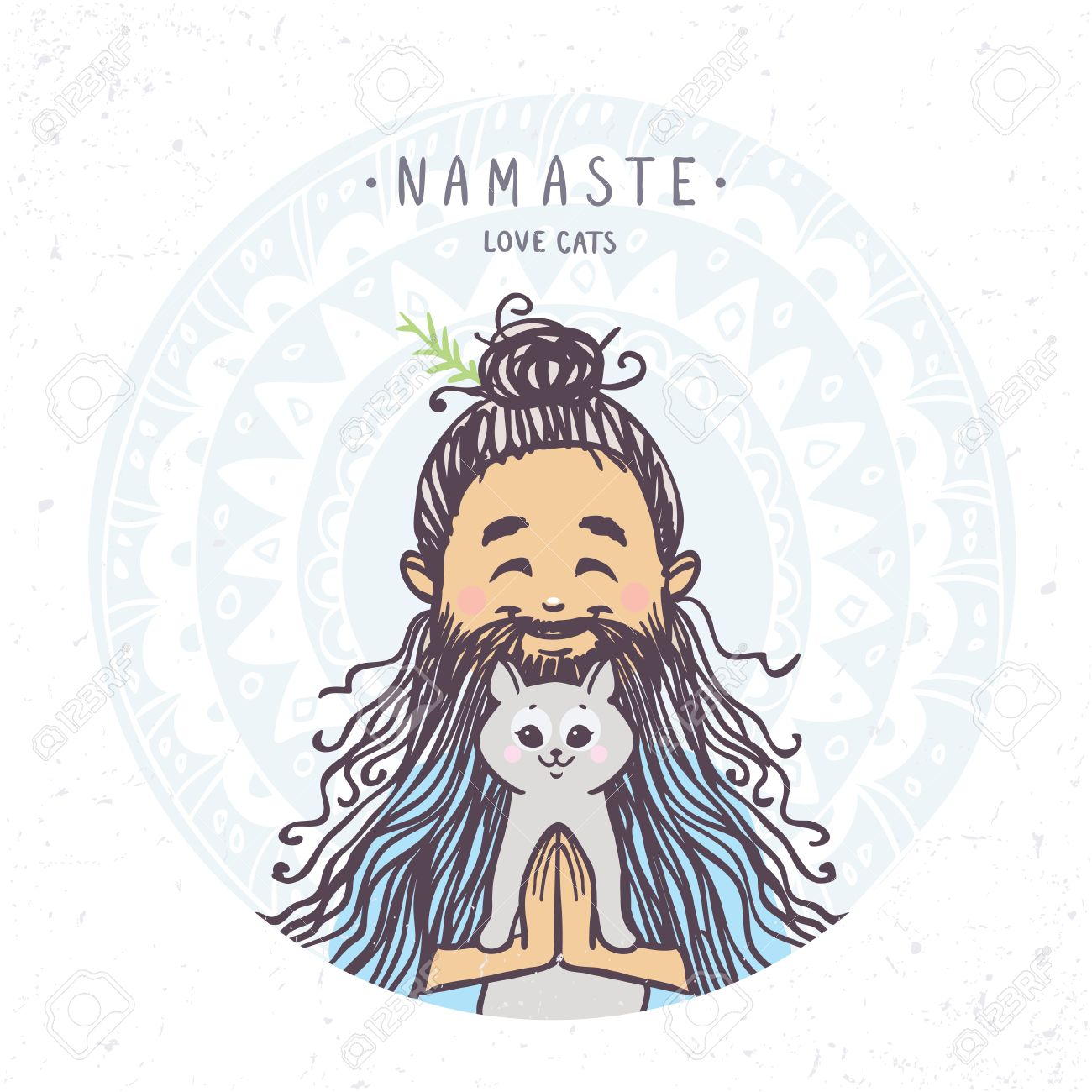 Character Man In Greeting Pose Namaste With Cute Cat Vector