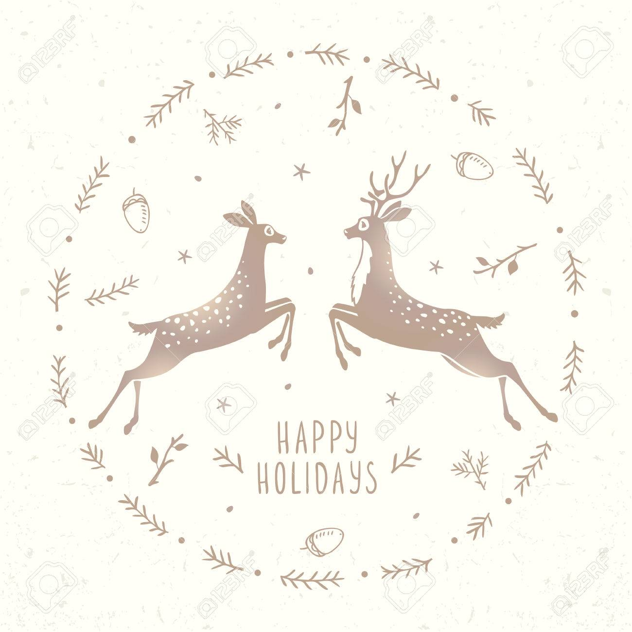 Beautiful Silhouette Of Two Character Stylized Deer In Frame ...