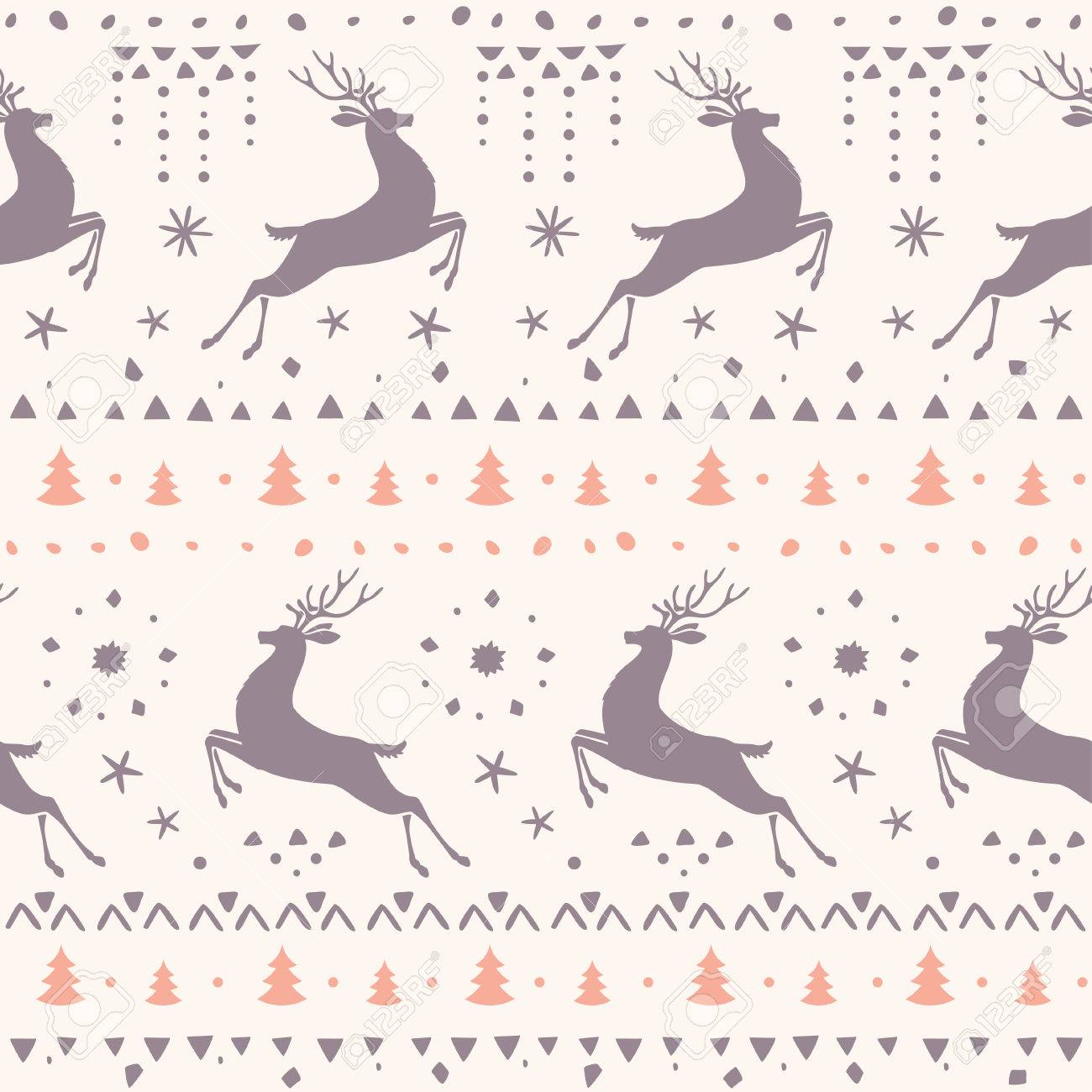 Beautiful Seamless Pattern With Silhouette Gorgeous Deer Amazing