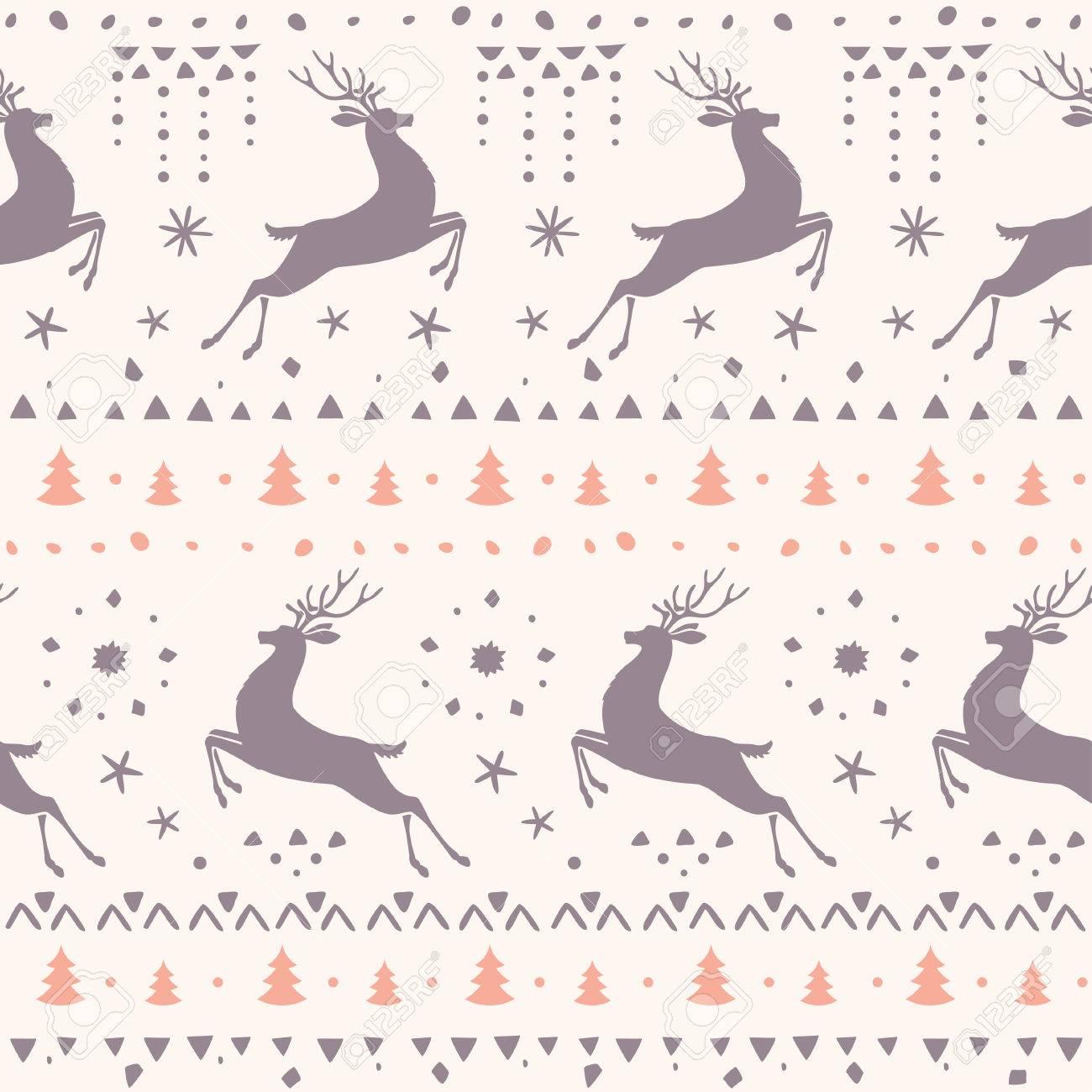 Belle Seamless Silhouette Magnifique Cerf Fond Décran Incroyable Pour Votre Conception Illustration Seamless Scandinave