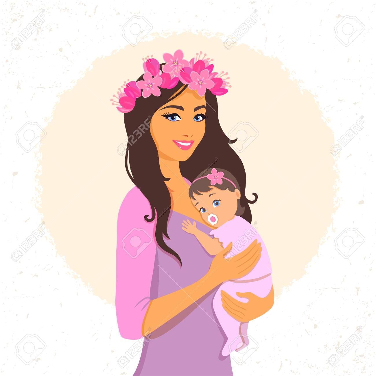Beautiful And Cute Cartoon Mother With Baby Happy Motherhood Royalty Free Cliparts Vectors And Stock Illustration Image 79990787