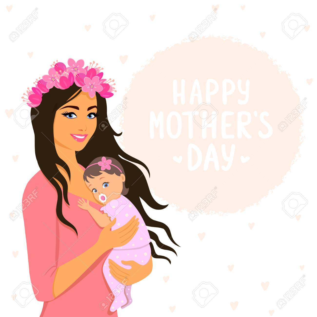 Beautiful And Cute Cartoon Mother With Baby Happy Motherhood Royalty Free Cliparts Vectors And Stock Illustration Image 80199860
