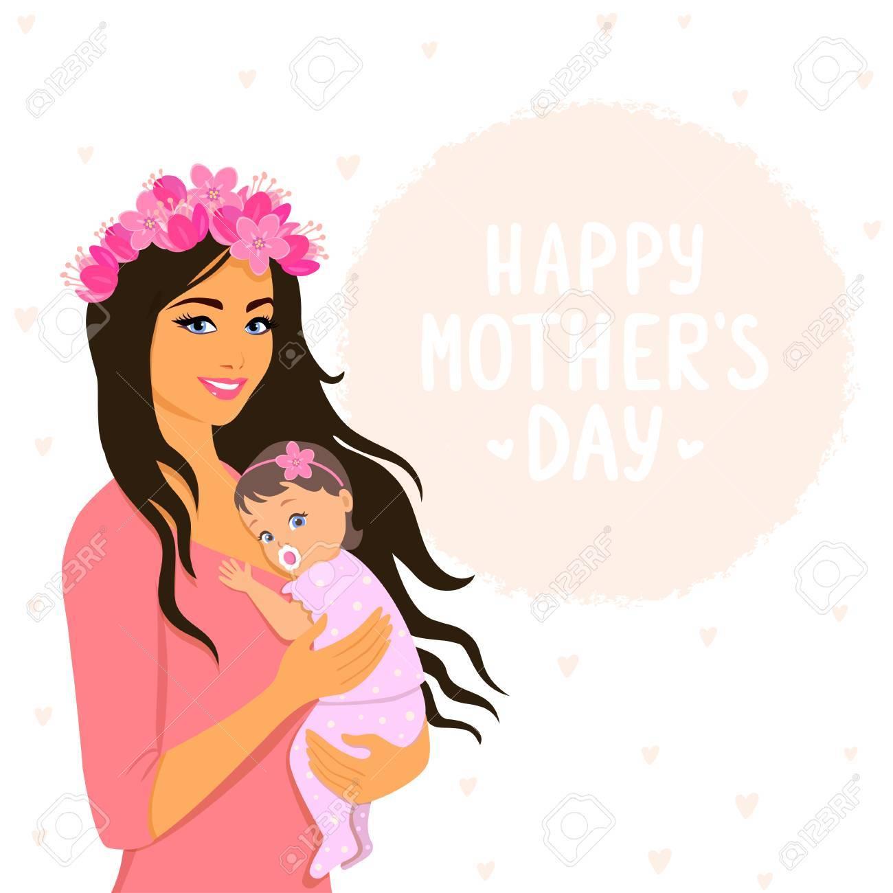 216fb89c5 Feliz maternidad Ilustración para el día de las madres. Ilustración  vectorial Joven y feliz mujer con niño.