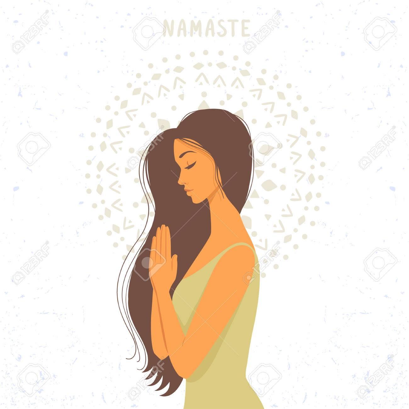 Amazing Cartoon Girl In Greeting Pose Namaste Practicing Yoga