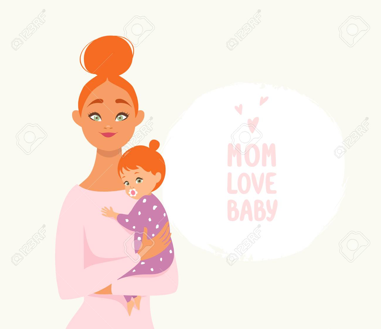 Beautiful And Cute Cartoon Mother With Baby Happy Motherhood Royalty Free Cliparts Vectors And Stock Illustration Image 125227554