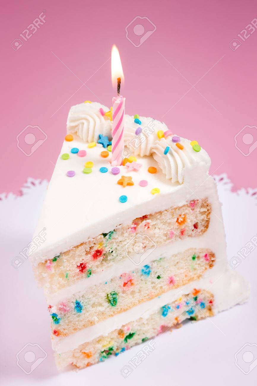 Tremendous Slice Of Birthday Cake With Colorful Sprinkles And Lit Candle Funny Birthday Cards Online Fluifree Goldxyz