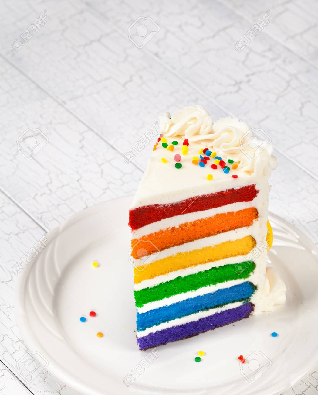 Slice Of Rainbow Birthday Cake Stock Photo Picture And Royalty Free