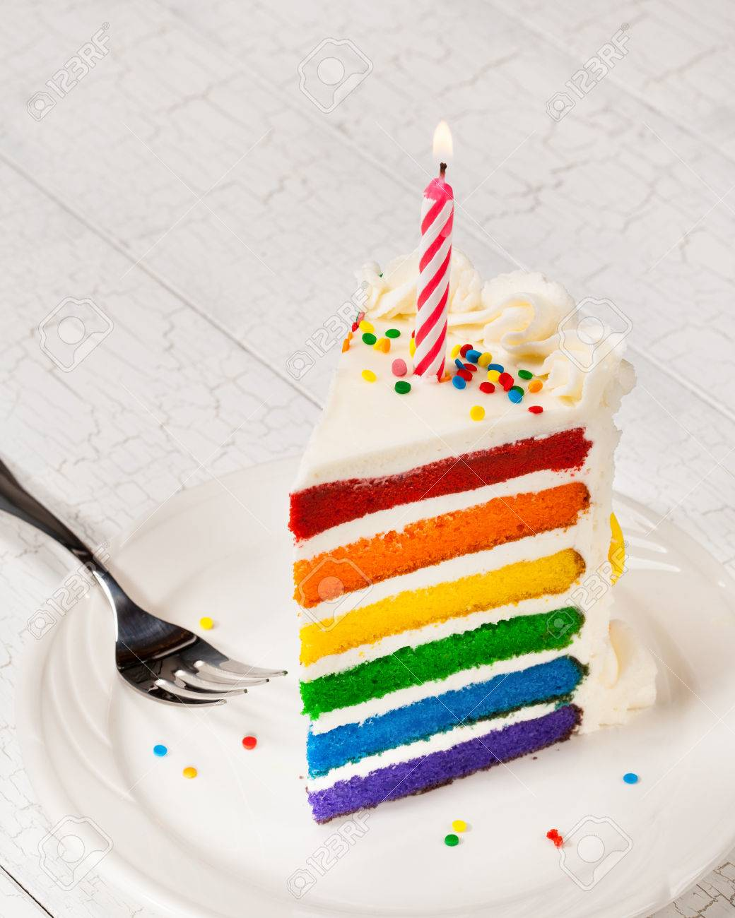 Excellent Slice Of Rainbow Birthday Cake Stock Photo Picture And Royalty Personalised Birthday Cards Akebfashionlily Jamesorg