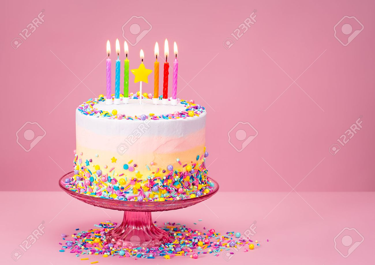 Surprising Colorful Birthday Cake With Sprinkles Over A Pink Background Funny Birthday Cards Online Elaedamsfinfo