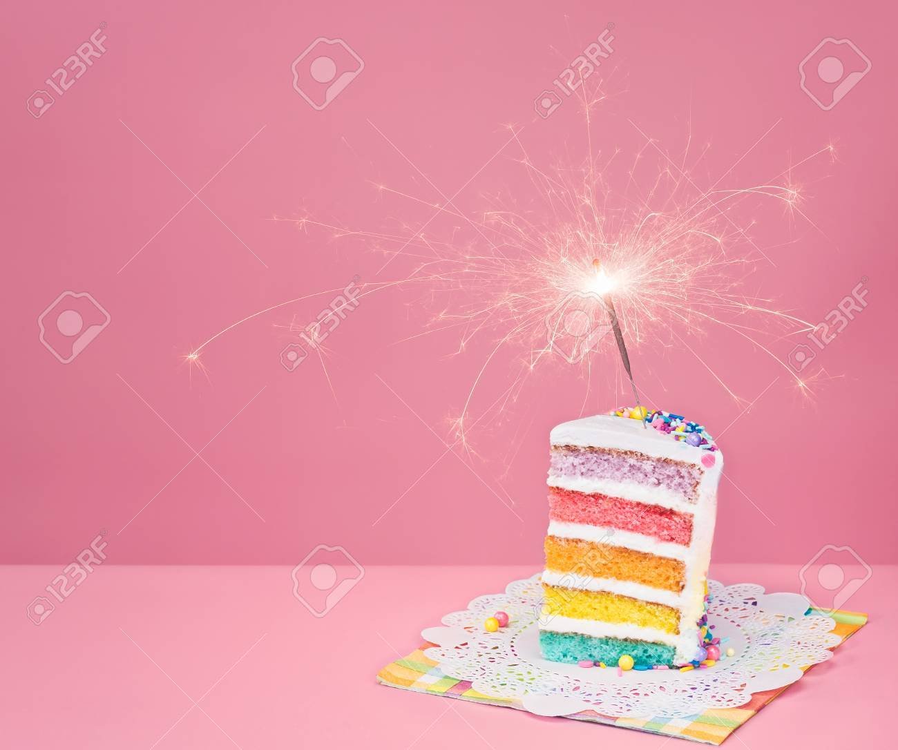 Swell Slice Of Birthday Cake On A Pink Background With Rainbow Layers Personalised Birthday Cards Paralily Jamesorg