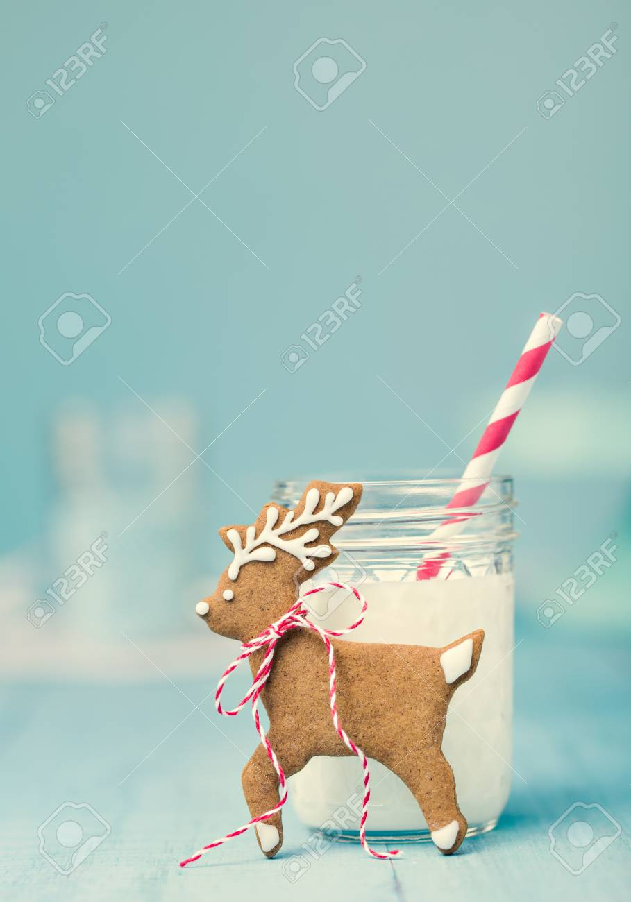 Cute Gingerbread Reindeer Christmas Cookie With Milk And Straw
